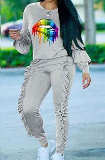 adorável Sport Lace manga comprida calças duas peças MTY6225