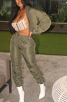 Casual Modest Long Sleeve Ruffle Long Pants Sets YR8059