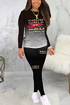 Conjuntos de calças compridas casual simplee Letter manga redonda pescoço longo BLE2195