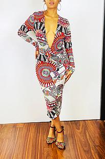 Sexy Pop Art Print Long Sleeve Deep V Neck Long Dress AWL5821