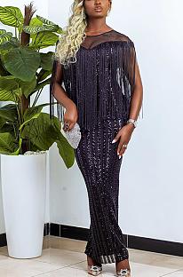 Night Out Elegant Sexy Sequins Sleeveless Tassel Hem Long Dress CCY8776
