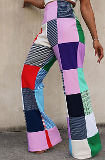 Moda casual feminina calça digital com impressão digital xadrez MDF5186