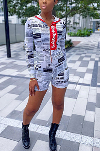 Casual Modest Paper Graphic Long Sleeve Hoodie Romper Shorts SDD9338