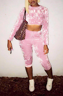 Sexy Long Sleeve Round Neck Crop Top Tee Top Cropped Pants Sets YSH6207
