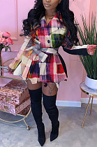 Casual Gingham Long Sleeve Spliced Mini Dress YFS3607