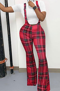 Plaid Printing Straps Jumpsuit Fashion Cultivate One's Morality Long Pants Zipper Casual Flare Leg Pants NS7856