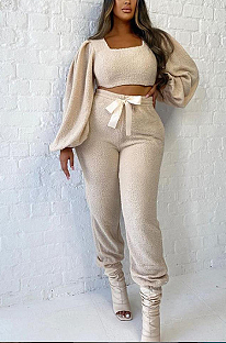 Casual Simplee Long Sleeve Square Neck Puff Sleeve Long Pants Sets YME08937