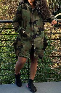Womenswear Camo Leopard Hooded Drawstring Long Coat SQ921