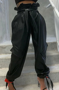Falbala Big Bag Bind Fashion Casual Fleece Leather Pants SQ926