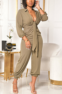 Casual Simplee Long Sleeve Deep V Neck Casual Jumpsuit YY5239