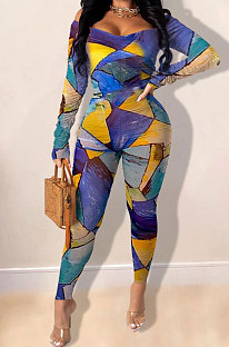 Womenswear Fashion Printing Off Shoulder Bare Chest Jumpsuits SQ920