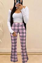 Casual Simplee Gingham Long Sleeve Off Shoulder Flare Leg Pants Sets YY5167