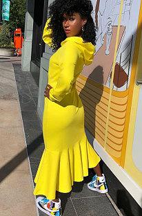 Womenswear Sport Fashion Street Fishtail Fleece Hooded Dress SQ919