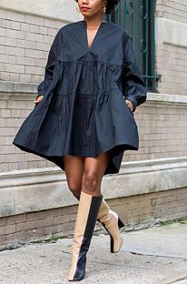 Повседневное платье миди с длинным рукавом и круглым вырезом Simplee YY5237