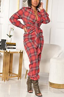 Casual Simplee Buffalo Plaid à manches longues col en V profond Casual Jumpsuit YY5240
