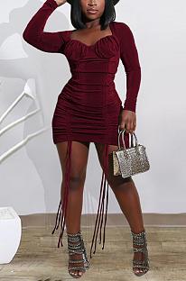 Сексуальное мини-платье с длинными рукавами и круглым вырезом Simplee со сборками YY5238