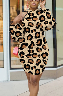 Casual Sexy Leopard Long Sleeve Halterneck Midi Dress ED8326