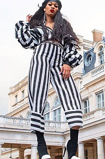 Casual Stripe Zipper Sexy Stacked Sleeve Two-Piece SQ922
