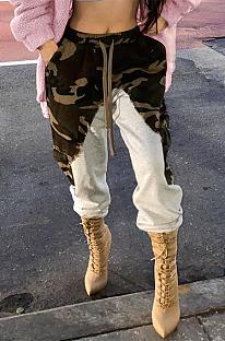 Calça comprida casual esportiva camuflada com costura na cintura XQ1069