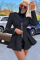 Mode Casual Personnalité Zipper PU manteau manteau de fourrure W8347