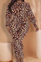 Macacões com impressão de leopardo pescoço de barco manga asa de morcego moda de rua LBA1018