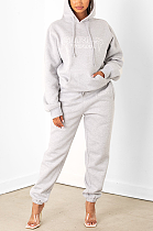 Casual Sexy Letter Long Sleeve Fluffing Hoodie Long Pants Sets MY9769