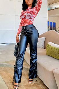 Calça Sexy Pu Couro Cintura Alta Pernas Largas XQ1068