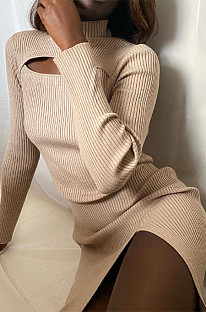 Vestido midi casual sexy de manga longa em volta do pescoço oco XQ1065