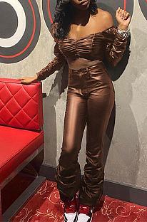 Calças compridas de couro pu sexy de manga longa fora do ombro cortada com calças compridas Conjuntos de calças largas KDN1225