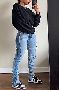 Jeans casual blazer com cintura média XQ1058