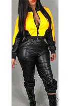 Sexy Camo Long Sleeve Round Neck Spliced Long Pants Zip Jacket Sets MY9754