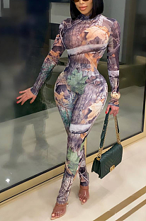 Sexy Polyester Pop Art Print Long Sleeve Round Neck Bodycon Jumpsuit FFE046