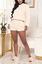 Casual Sexy Long Sleeve Slant Pocket Hoodie Shorts Sets GL6312