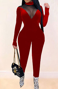 Womenswear Fashion Casual Sexy Pleuche Net Yarn Spliced Perspective Cultivate One's Morality Long Jumpsuits SM9128
