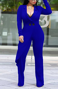 Casual Polyester Long Sleeve V Neck Buttoned Wide Legged Jumpsuits QQM4151