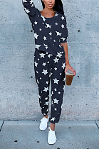 Conjunto de calças compridas sexy manga longa estampa estrela em volta do pescoço camiseta QQM4110