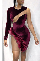 Night Out Sexy Long Sleeve Spliced Feathers Mini Dress GL6317