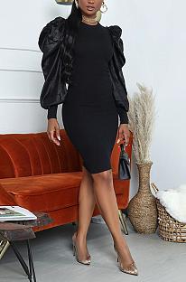 Elegant Long Sleeve Round Neck Spliced Puff Sleeve Midi Dress FFE050