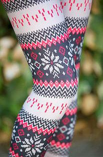 Casual Polyester Snowflake Digital Print Classic Leggings Long Pants QQM4109