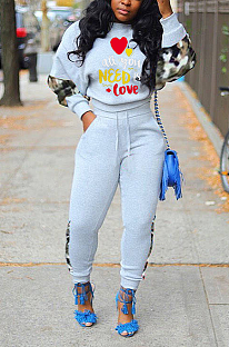 Casual Cute Letter Camo Long Sleeve Round Neck Tee Top Long Pants Sets FFE017