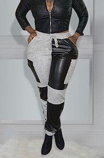 Knitting Spliced PU Fashion Casual Pants ED8332