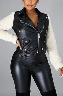 Basics Polyester Pu Leather Zipper Long Sleeve Lapel Neck Spliced Jackets FFE048