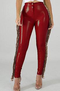 High Elastic Add Wool Leather Pants Spliced Sequins Tassel PU Leather Pants LA3241