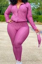 Long Sleeve Zipper Stand Collar Long Pants Sets Jacquard Yoga High Elastic Fabric LYL837