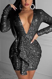 Casual Sexy Long Sleeve Round Neck Deep V Neck Spliced A Line Dress FFE047