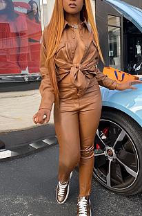 Casual Cute Pu Leather Long Sleeve Lapel Neck Flat Pocket Long Pants Coat Sets FFE041