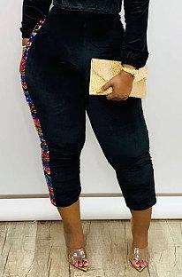Moda casual lantejoulas calças compridas Pleuche DMM8159