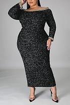 Autumn Winter Sexy Long Sleeve Warm Wool Spliced One Word Shoulder Long Dress CCY1344