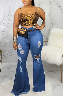 Casual Cotton Tassel Hem Flare Leg Pants High Stretch Plus Size Jeans SMR2367