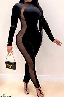 Long Sleeve Cultivate One's Morality Suede Zipper Sexy Perspective Net Yarn Jumpsuits QY5029